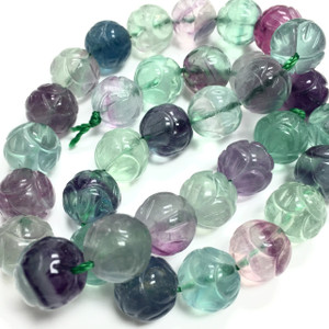 Carved Flourite Beads 12mm