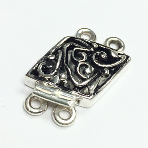 """Sterling Silver """"On a Slant"""" Double Strand Clasp-22 x 12mm"""