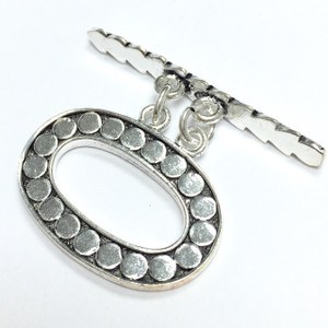 Sterling Silver Ornate Oval Double Strand Toggle Clasp