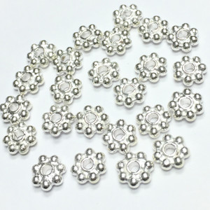 White Silver Daisy Spacers Beads-6mm