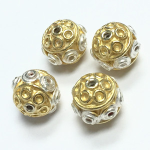 Vermeil and White Silver Beads