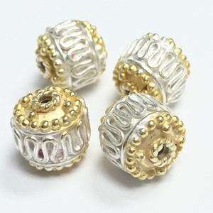 Vermeil and White Silver Bali Style Beads