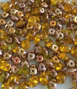 SuperDuo 2 x 5mm 2 hole beads - Amber Capri Gold