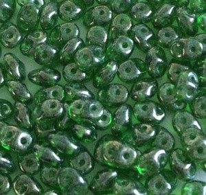 SuperDuo 2 x 5mm 2 hole beads - Chrysolite Shimmer