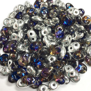 SuperDuo 2 x 5mm 2 hole beads - Crystal Heliotrope