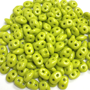 SuperDuo 2 x 5mm 2 hole beads - Opaque Green