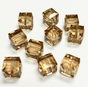 Swarovski Crystal Cube Beads Article 5601 Light Colorado Topaz