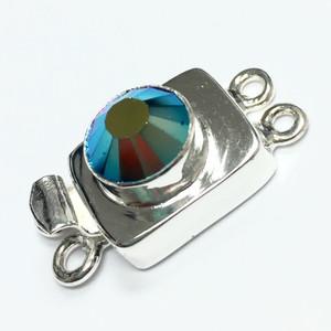 Swarovski Crystal Silver Filled 2 Strand Clasp - Jet AB