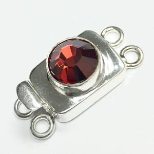 Swarovski Crystal Silver Filled 2 Strand Clasp - Red Magma