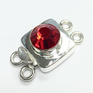 Swarovski Crystal Silver Filled Double Strand Clasp - Lt. Siam