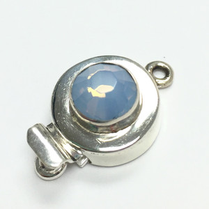 Swarovski Round Sterling Silver Crystal Clasp 11-12mm- Air Blue Opal