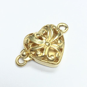 Vermeil Open Filigree Heart Clasp--Oxidized Finish