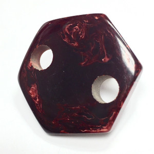 Vintage YSL Marbled Red Bakelite Hex Connector Link Bead