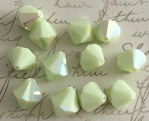 Rare Vintage Czech Preciosa Faceted Opaque Bicone Beads-Lemon/Lime AB-12mm