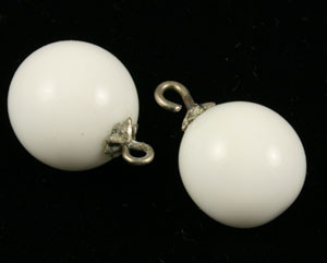 Vintage Milk Glass Round Drops for Earrings
