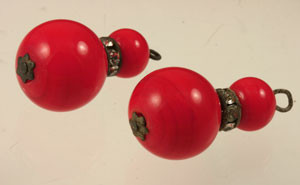 Vintage Red Coro Glass Bead Dangles for Earrings