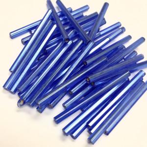 Vintage Czech Mirrored Bugle Beads-Sapphire Blue 30mm
