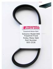 Schwinn Model 840 Treadmill Front Pulley Motor Belt Part Number 003-2536