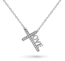 """Love Cross™ INSPIRE MINI in solid sterling silver with 18 CZ stones on an 18"""" chain.   Pendant Size: 7/8"""" x 1/2"""" Made in USA."""