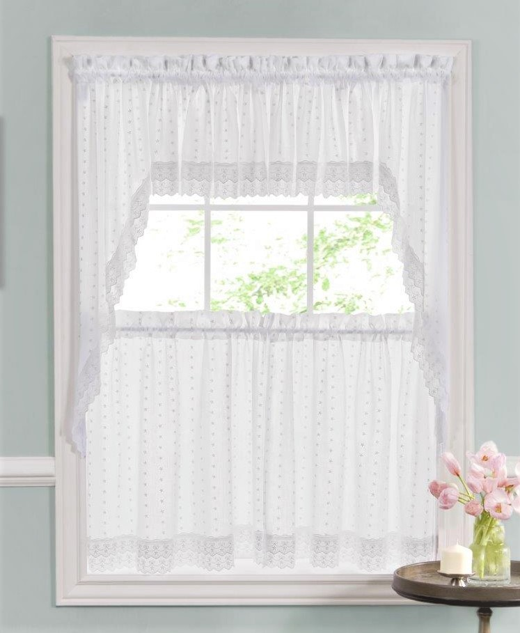 stacey solid kitchen curtains ribbon eyelet kitchen curtains white - Kitchen Curtain