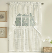 Gridwork Semi Sheer Kitchen Curtain