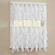 Charmant ... Cascade Ruffled Kitchen Curtains   White | Ivory ...