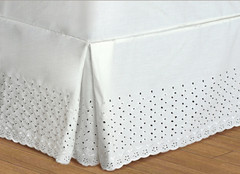 """Vienna Embroidered Eyelet Bedskirt Twin - 18"""" DROP"""