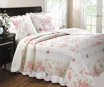 Coral Red Quilt Set -Full/Queen