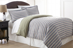 Micro Flannel - 3pc F/QUEEN Comforter Set - Awning Stripe
