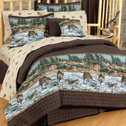River Fishing Lined Curtain pair