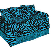 Blue Zebra Lined Curtain pair
