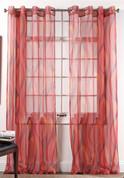 Retro Sheer Grommet Top Curtain Panel - Flame