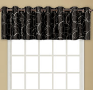 Sinclair Embroidered Grommet Top Valance - Black