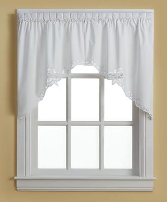 Battenburg Lace Cotton Kitchen Curtain Swag White
