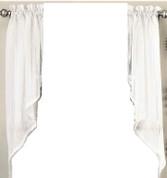 Harmony kitchen curtain swag - White