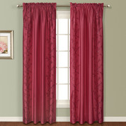 Addison Embroidered Rod Pocket Curtain Panel - BURGUNDY