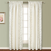 Addison Embroidered Rod Pocket Curtain Panel - WHITE