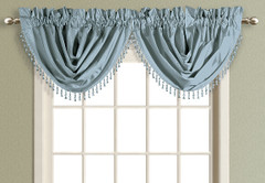 Anna Faux Silk Waterfall Valance - BLUE
