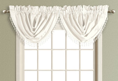 Anna Faux Silk Waterfall Valance - WHITE