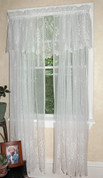 Cameo Rose Lace Rod Pocket Curtain Panel - Available in White or Ivory