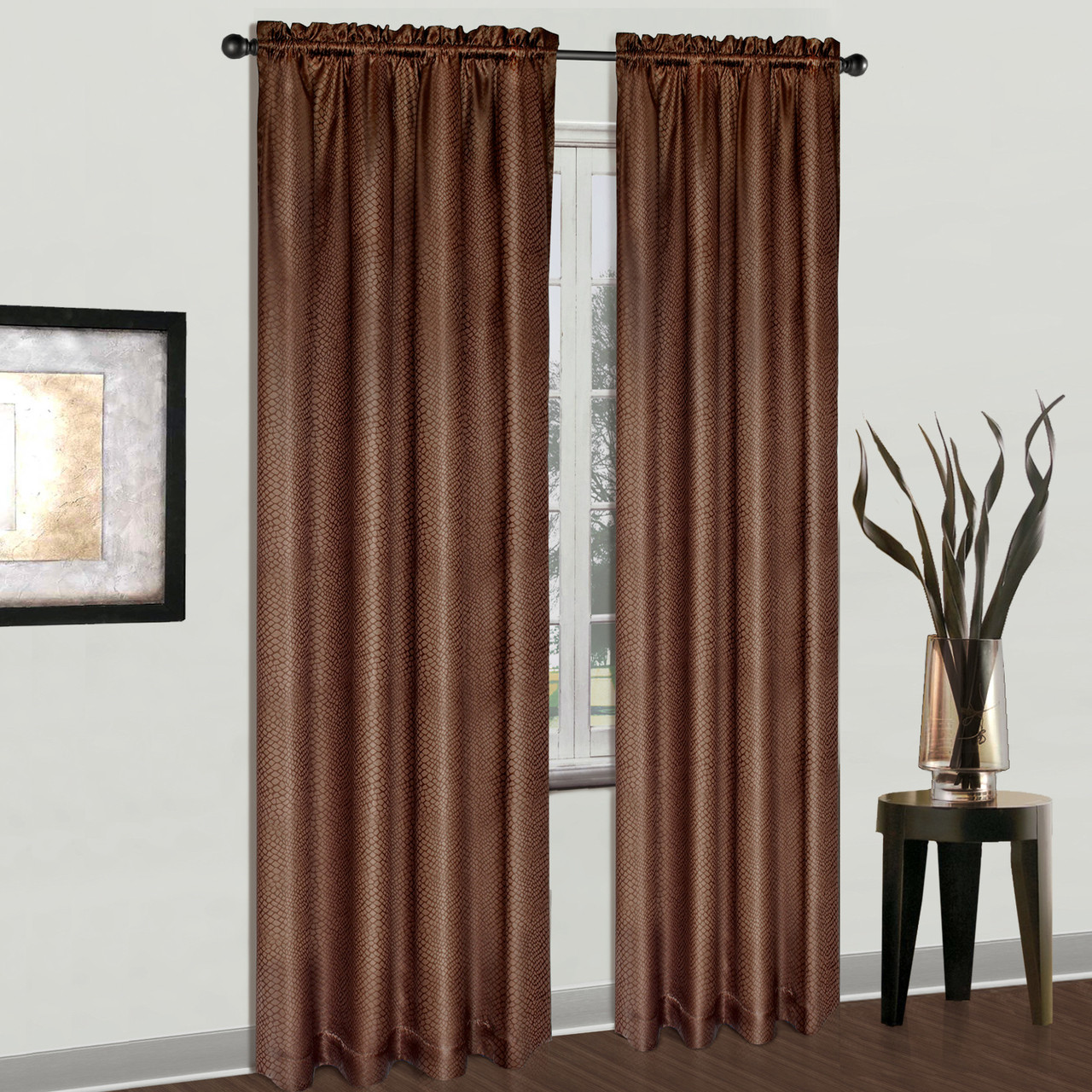 Cyndee Rod Pocket Curtain Chocolate Brown Linens4less Com