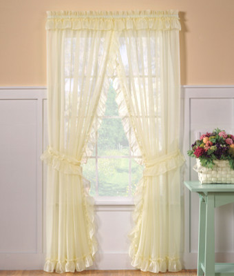 Ideal Emelia Sheer Ruffled Priscilla Curtains - Available in White or  PM07