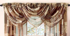 Jasmine Printed Sheer Waterfall Valance - Available in Spring, Mocha, Burgundy