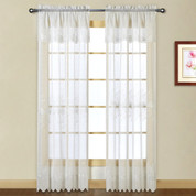 Marianna Embroidered Rod Pocket Curtain Panel - White