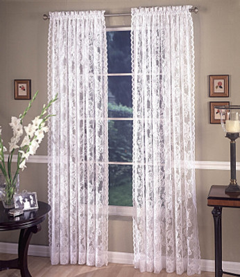 Monaco Lace Rod Pocket Curtain Pair Available In White