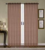 Monique Sheer Rod Pocket Curtain - Chocolate