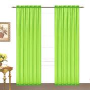 Monique Sheer Rod Pocket Curtain - Neon Lime