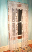 Seashells Lace Rod Pocket Curtain Panel - Available in White or Ivory