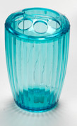 Acrylic Ribbed Toothbrush Holder - Cerulean Blue