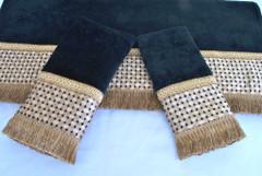 Chenille Dots black Embellished 3pc Towel SET